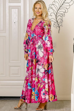 Buy Long Sleeve V-Neck Floral Print Maxi Dress Fuschia online at Southern Fashion Boutique Bliss
