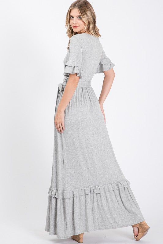 Buy Ruffled Sleeve Maxi Dress Heather Grey online at Southern Fashion Boutique Bliss