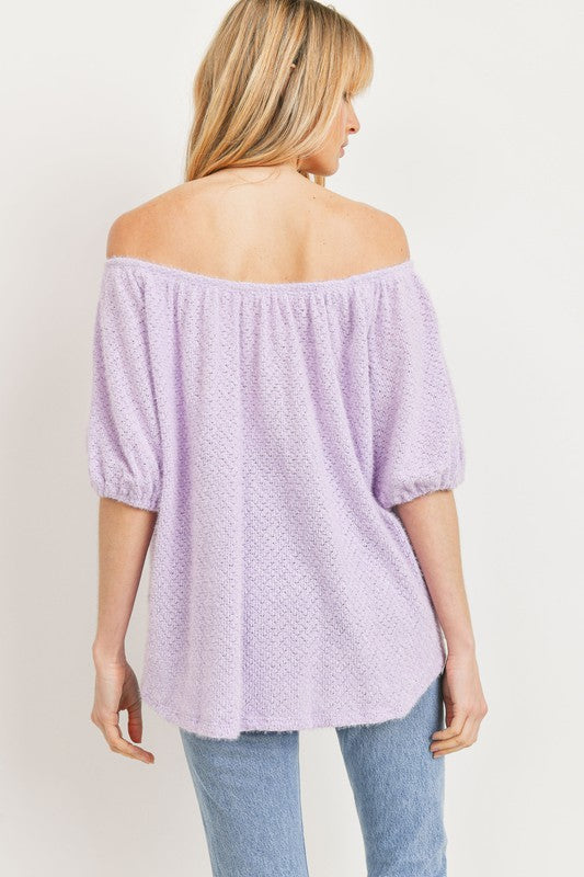 Off Shoulder Brushed Knit Tops Lavender