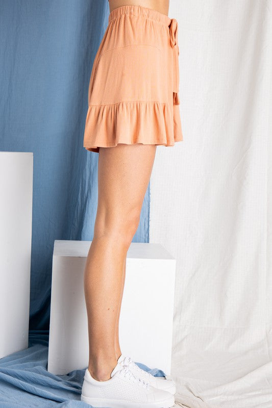 Buy Flowy Ribbed Shorts Salmon online at Southern Fashion Boutique Bliss