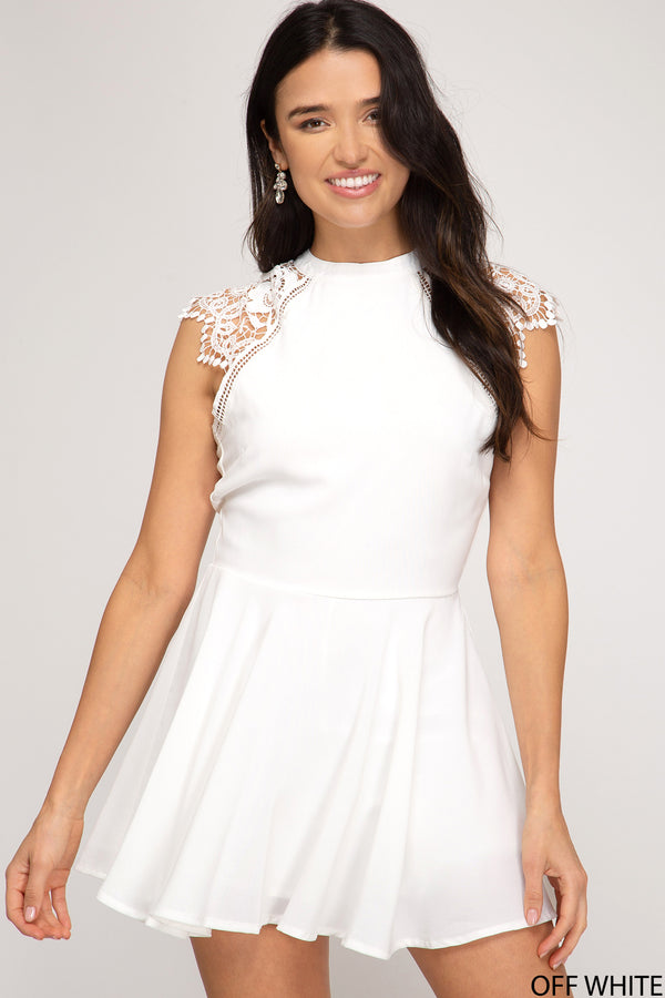Scalloped Lace Sleeve Woven Romper White