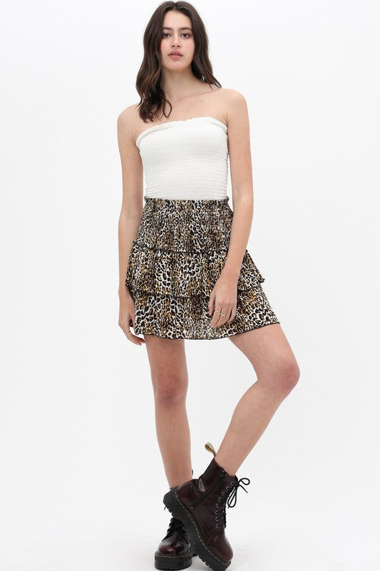 Buy Layered Animal Print Skirt Brown online at Southern Fashion Boutique Bliss