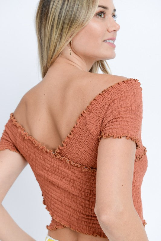 Off Shoulder Ruffled Bandage Crop Top Rust