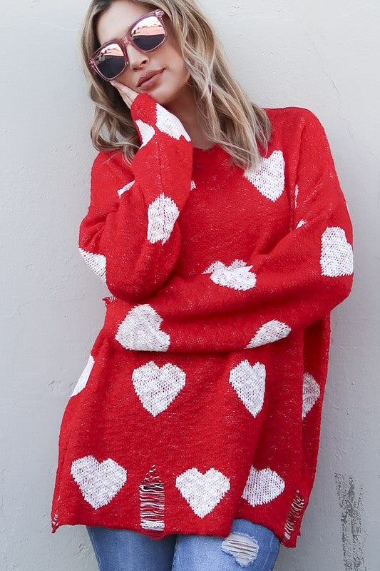 Buy Heart Pattern Distressed Sweater Top Red online at Southern Fashion Boutique Bliss