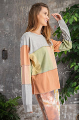 Buy Color Block Pastel Washed Top Grey Coral online at Southern Fashion Boutique Bliss