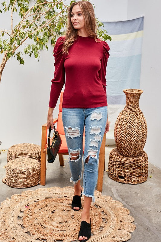 Mock Neck Bubble Sleeve Tops Burgundy