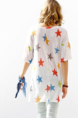 Buy Star Print Half Sleeve Tunic Top Navy Mix online at Southern Fashion Boutique Bliss