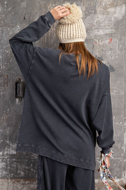 Copy of Long Sleeve Washed Pullover Top Ash