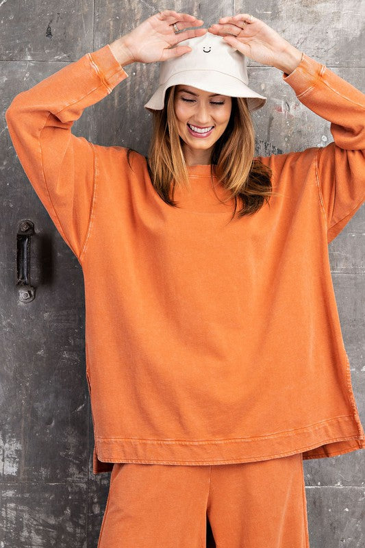 Buy Long Sleeve Washed Pullover Top Rust online at Southern Fashion Boutique Bliss
