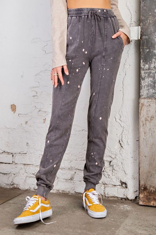 Splattered Bleached Out Jogger Pants Ash