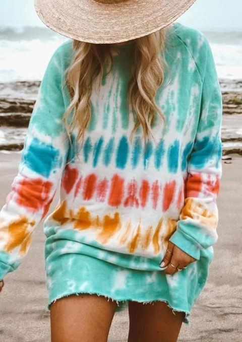 Buy Casual Long Sleeve Tie Dye Dress Multi online at Southern Fashion Boutique Bliss