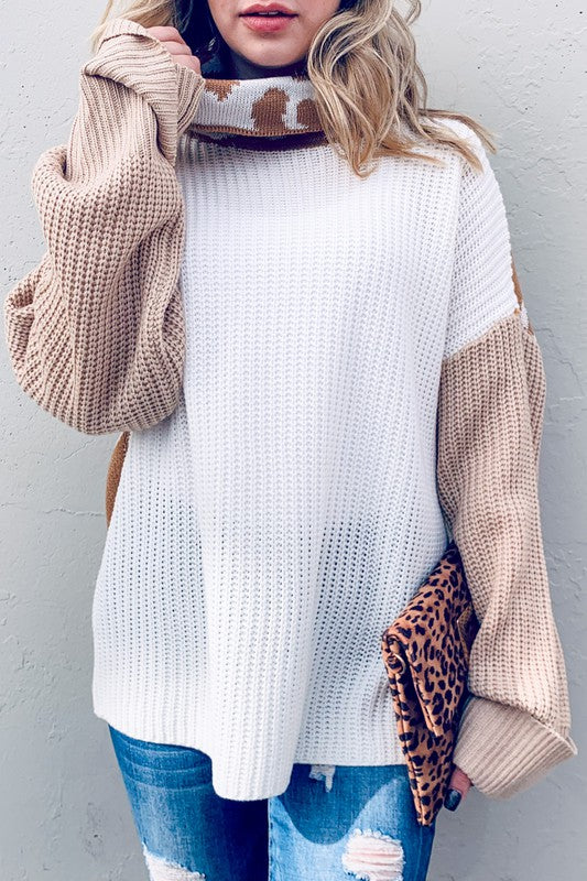 Buy Leopard Printed Color Block Sweater Taupe online at Southern Fashion Boutique Bliss