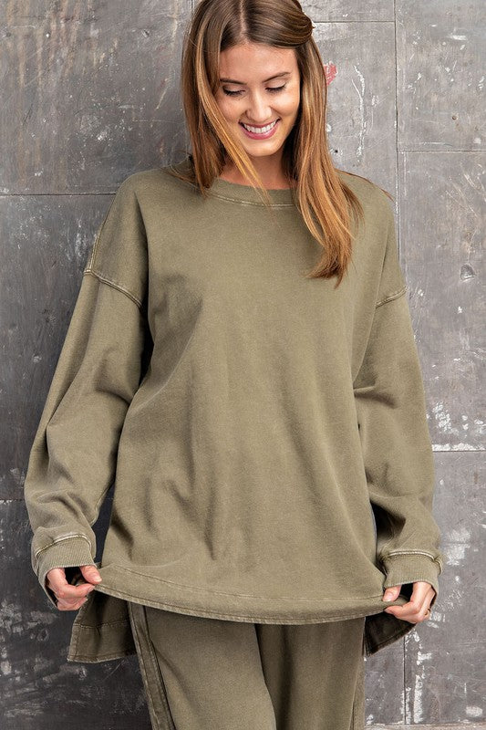 Buy Long Sleeve Washed Pullover Top Olive online at Southern Fashion Boutique Bliss