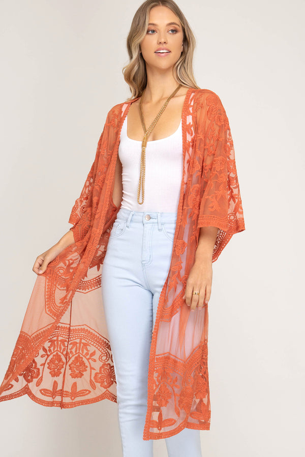 Half Sleeve Crochet Lace Midi Duster Kimono Carrot - Athens Georgia Women's Fashion Boutique