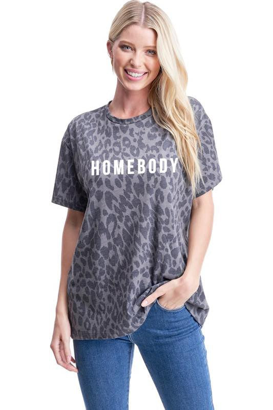 Homebody Graphic Top Charcoal