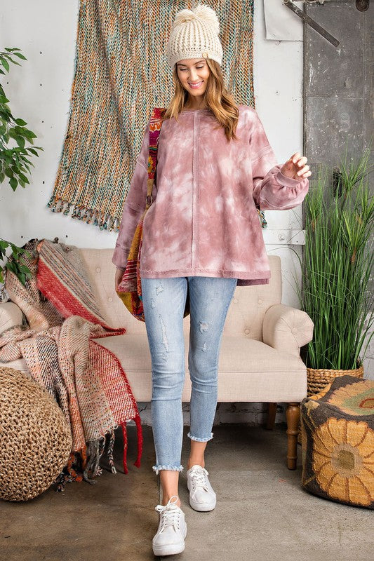 Tie Dye Terry Knit Top Mauve