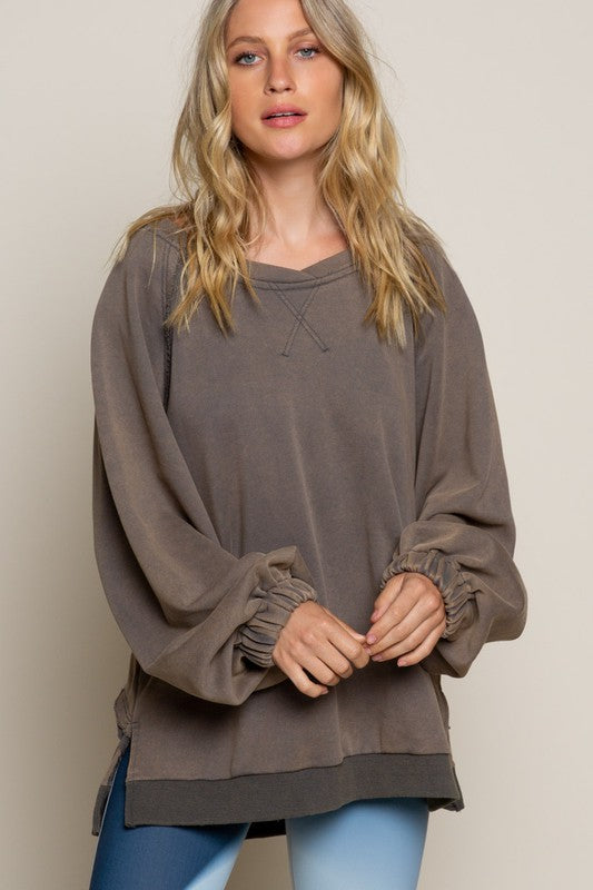 Buy French Terry Knit Top Charcoal online at Southern Fashion Boutique Bliss