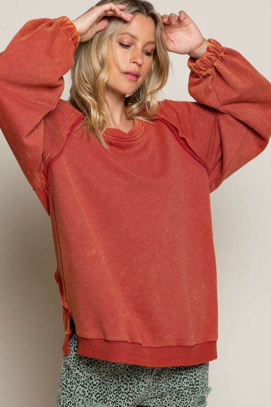 French Terry Knit Top Rust