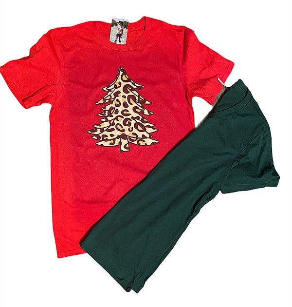 Buy Leopard Christmas Tree Tee Red online at Southern Fashion Boutique Bliss