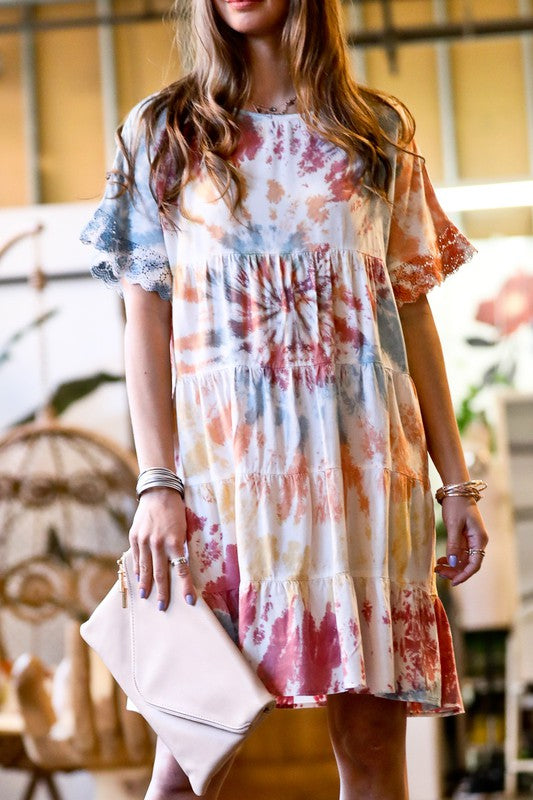 Buy Ruffle Sleeve Tie-Dyed Tiered Dress Multi online at Southern Fashion Boutique Bliss