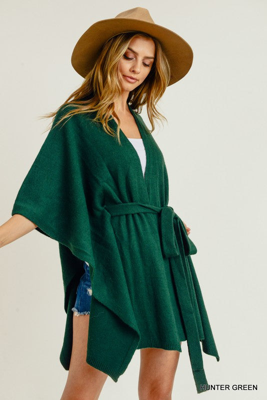 Solid Belted Poncho Cardigan Green