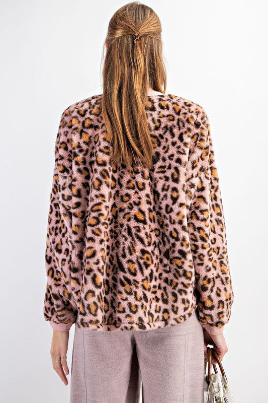 Buy Leopard Faux Fur Boxy Pullover Top Mauve online at Southern Fashion Boutique Bliss