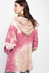 Buy Silhouette Tie Dye Terry Knit Hoodie Top Open Back Detail Dried Rose online at Southern Fashion Boutique Bliss