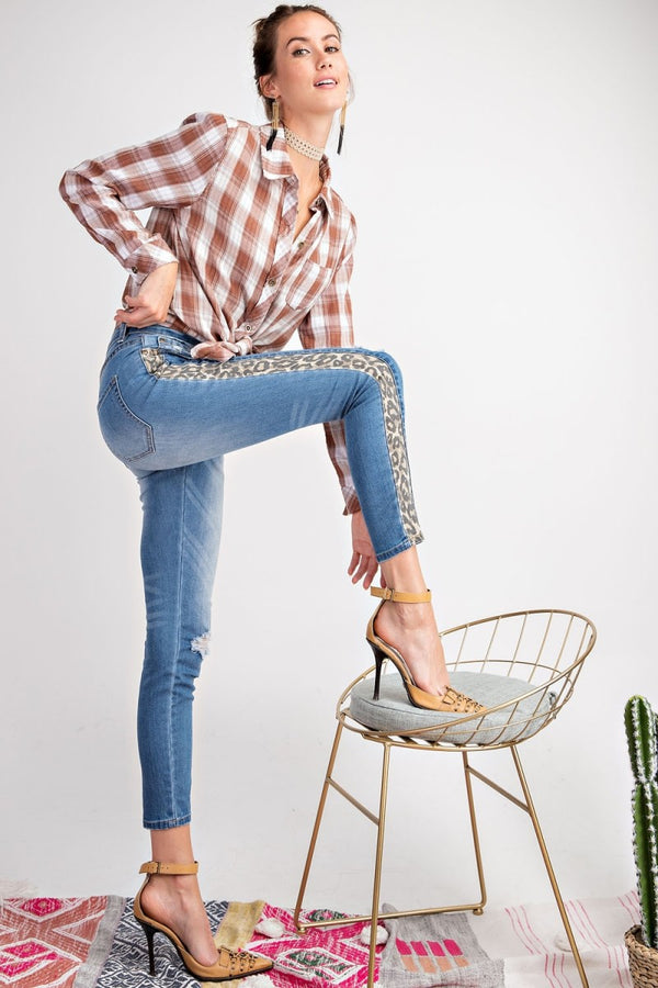 Buy Animal Print Stripe Washed Denim Jeans online at Southern Fashion Boutique Bliss