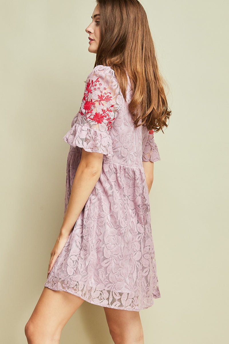 Buy Lace Short Sleeve Embroidered Dress Lavender online at Southern Fashion Boutique Bliss