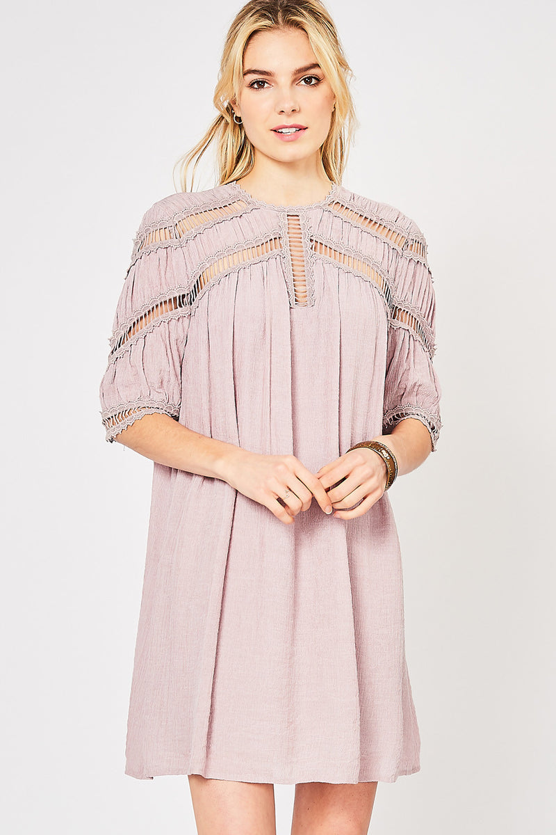 Buy Solid Peasant Dress Crochet Detail Dusty Blush online at Southern Fashion Boutique Bliss