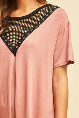 Buy Short Sleeve Top Fishnet Neckline Mauve online at Southern Fashion Boutique Bliss
