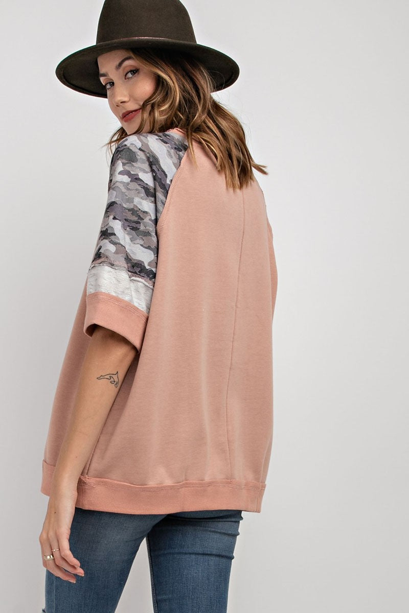 Buy Short Sleeve Terry Knit Sweatshirt Mauve online at Southern Fashion Boutique Bliss