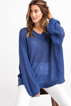 Bubble Dropped Sleeve Loose Fit Sweater Top Royal - Athens Georgia Women's Fashion Boutique