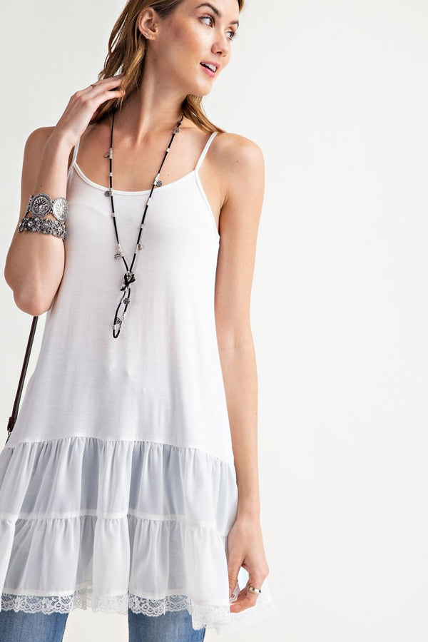 Buy Layer Ruffle Bottom Cami Tunic Ivory online at Southern Fashion Boutique Bliss