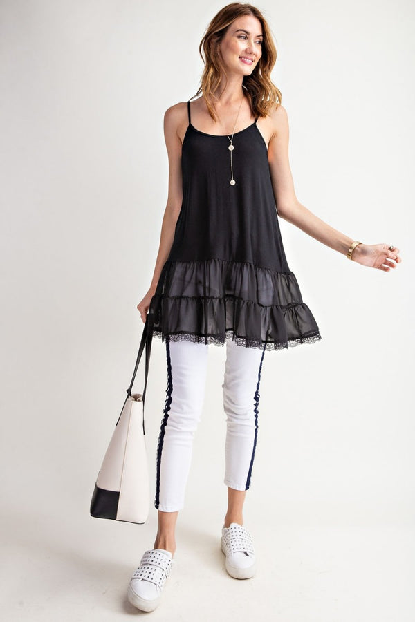 Buy Layer Ruffle Bottom Cami Tunic Black online at Southern Fashion Boutique Bliss