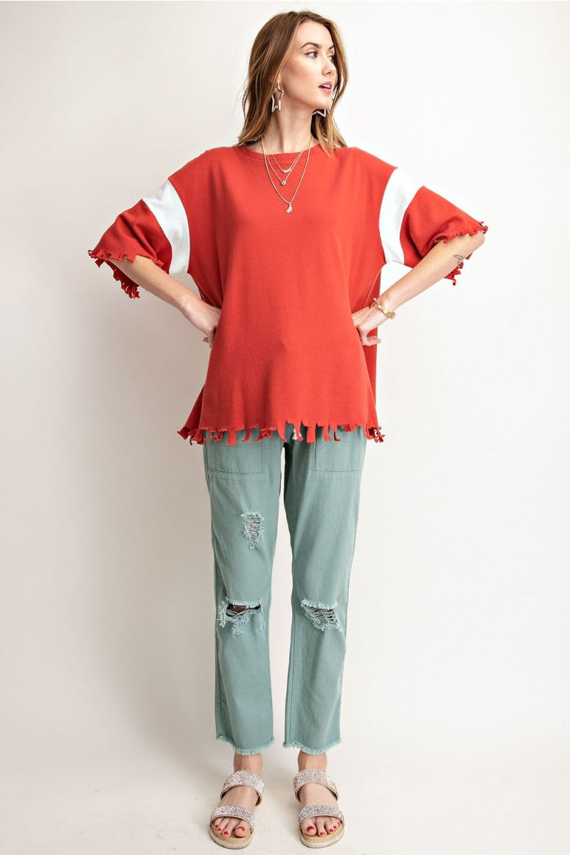 Buy Fringe Cut Edge Terry Knit Top Crimson online at Southern Fashion Boutique Bliss