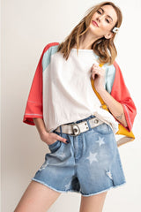 Buy Color Blocked Dolman Sleeve Loose Fit Top Faded Blue online at Southern Fashion Boutique Bliss