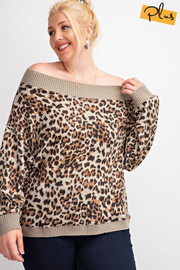 Animal Print Hacci Knit Top Camel Brown - Athens Georgia Women's Fashion Boutique
