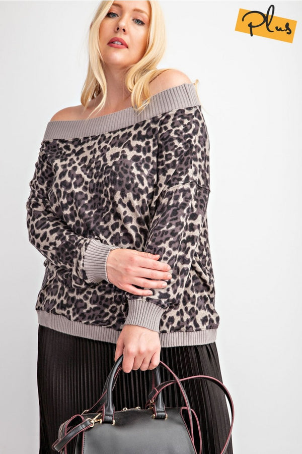 Animal Print Hacci Knit Top Mushroom - Athens Georgia Women's Fashion Boutique