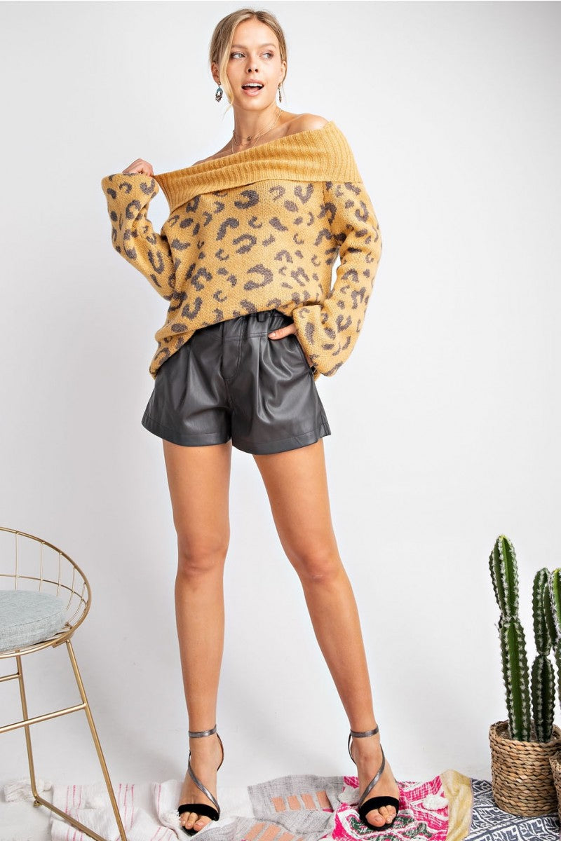 Leopard Print Cowl Neck Pullover Sweater Mustard - Athens Georgia Women's Fashion Boutique