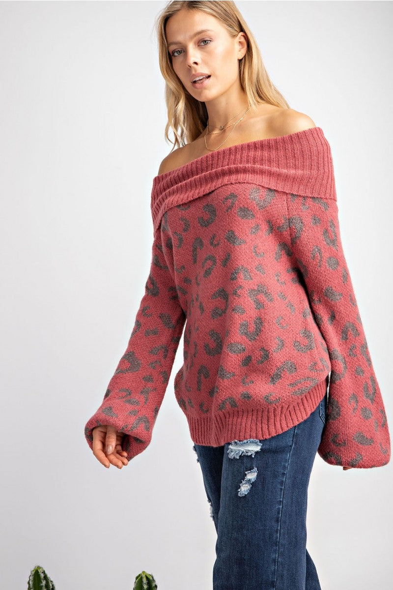 Buy Leopard Print Cowl Neck Pullover Sweater Marsala online at Southern Fashion Boutique Bliss