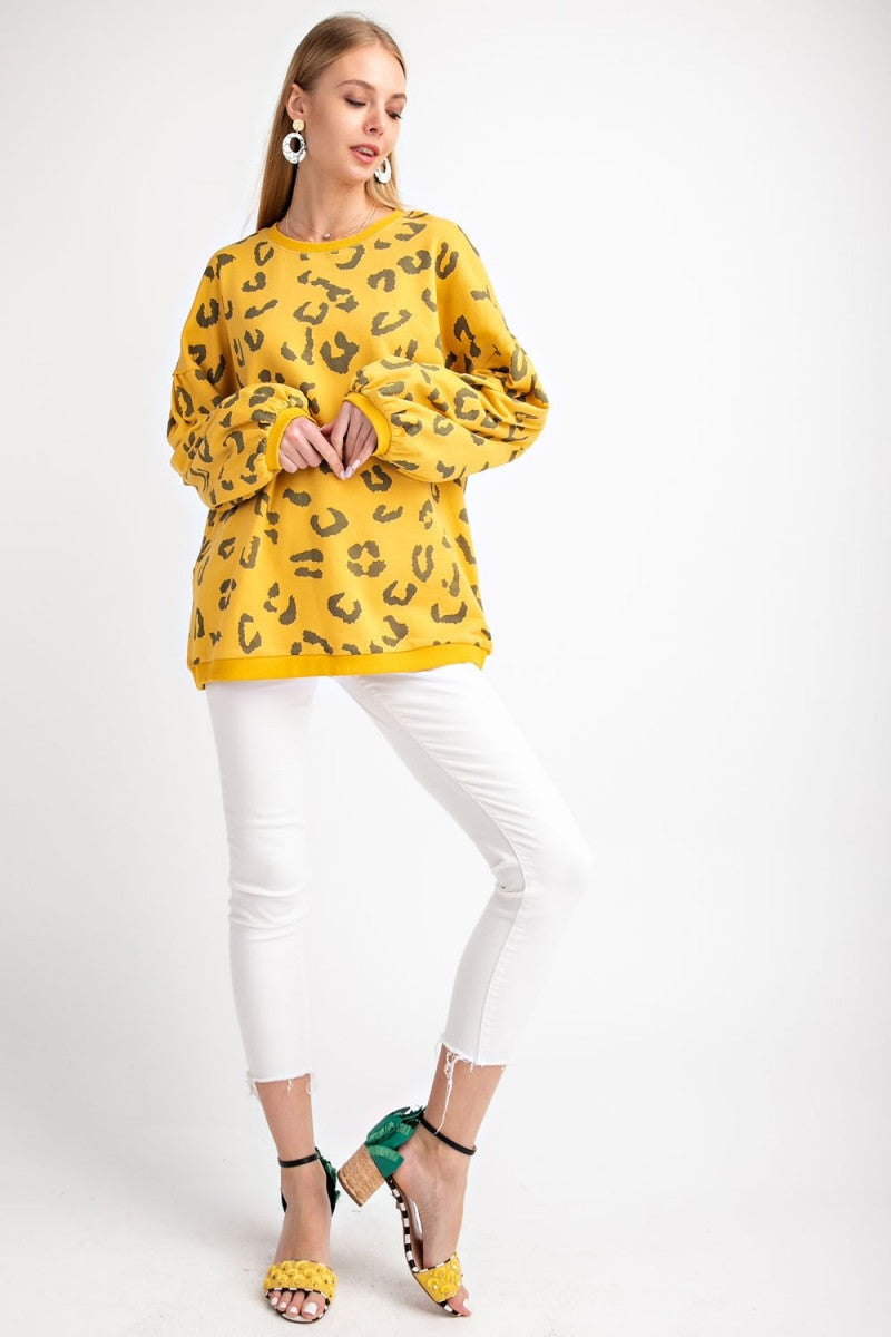 Buy Animal Printed Terry Knit Sweatshirt Mustard online at Southern Fashion Boutique Bliss