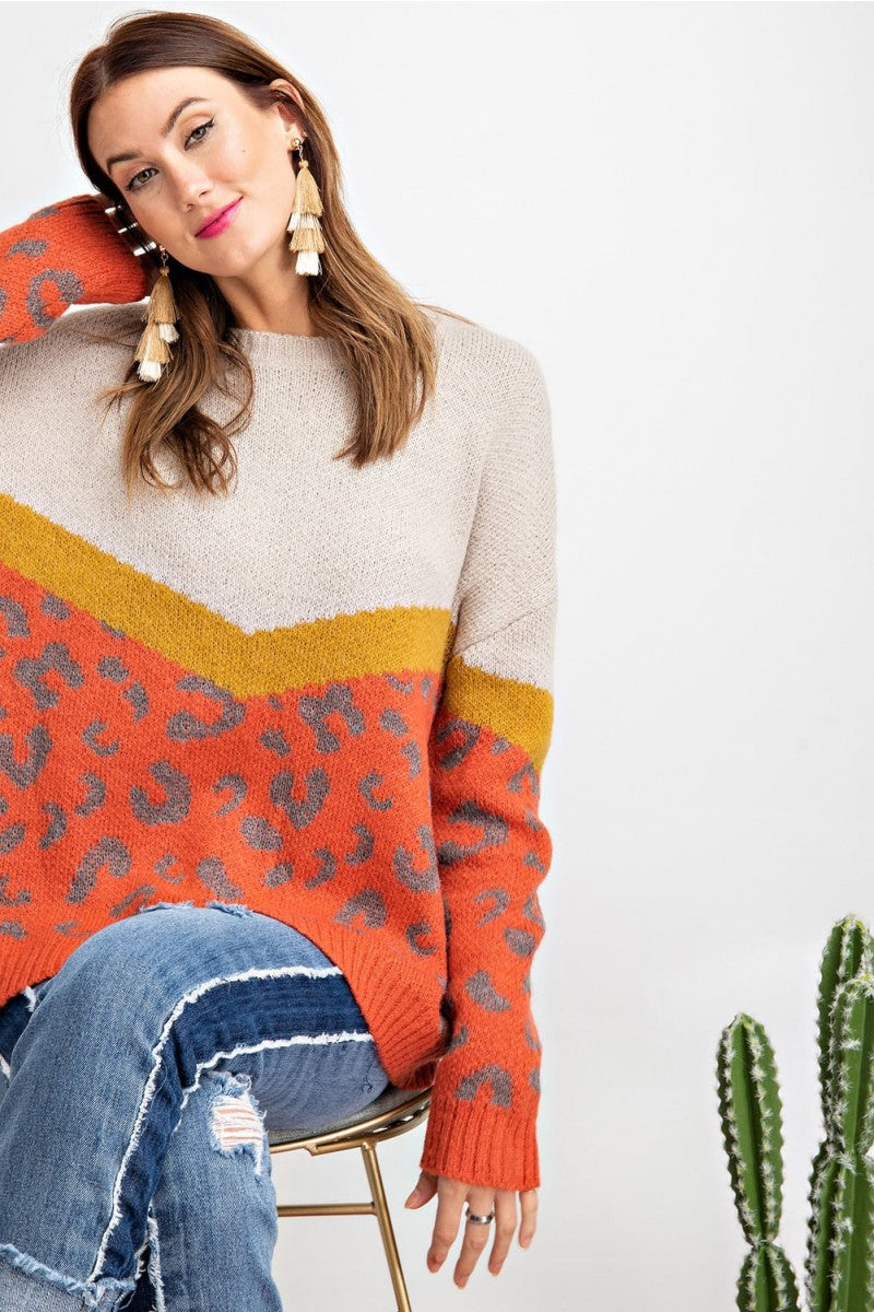 Animal Pattern Solid Knitted Sweater Rust - Athens Georgia Women's Fashion Boutique