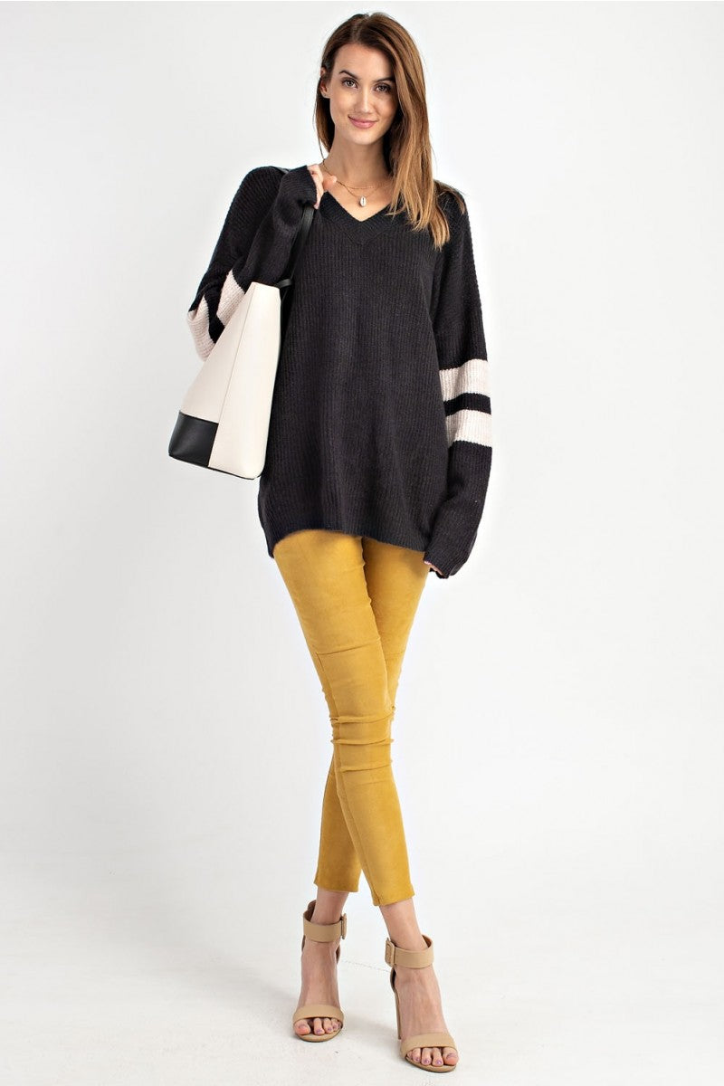 Buy Athletic Sleeve Knitted Pullover Top Black online at Southern Fashion Boutique Bliss