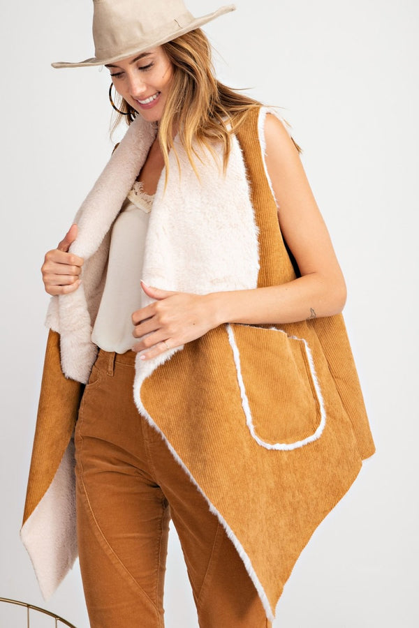Buy Corduroy Suede-Like Sleeveless Vest Camel online at Southern Fashion Boutique Bliss
