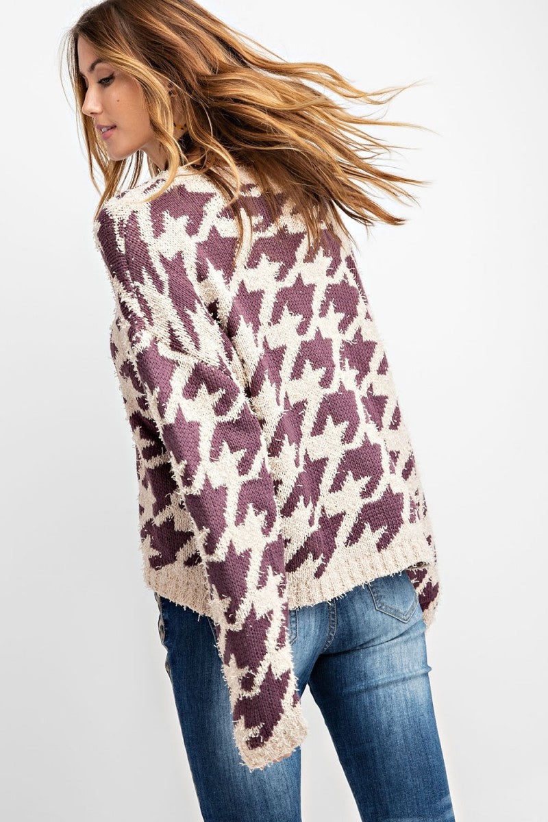 Buy Geometry Pattern Knitted Sweater Purple online at Southern Fashion Boutique Bliss