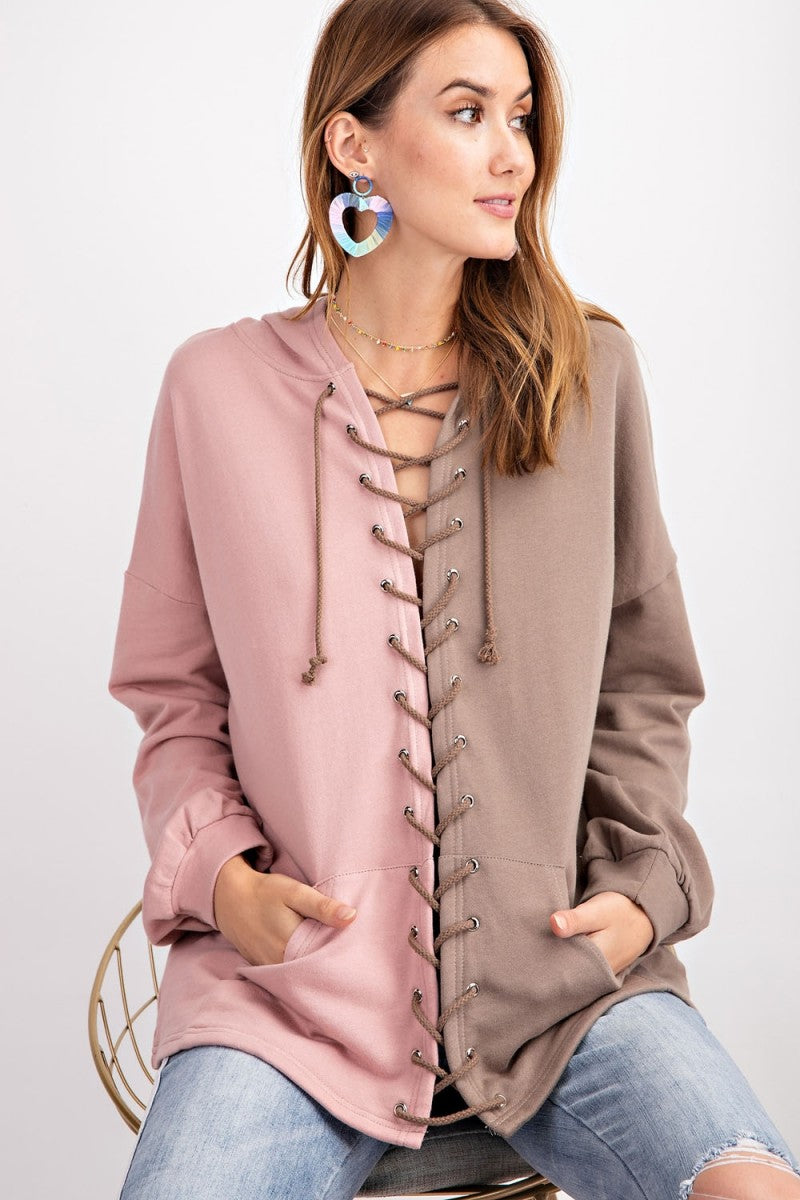 Buy Color Block Terry Knit Hoodie Mocha online at Southern Fashion Boutique Bliss
