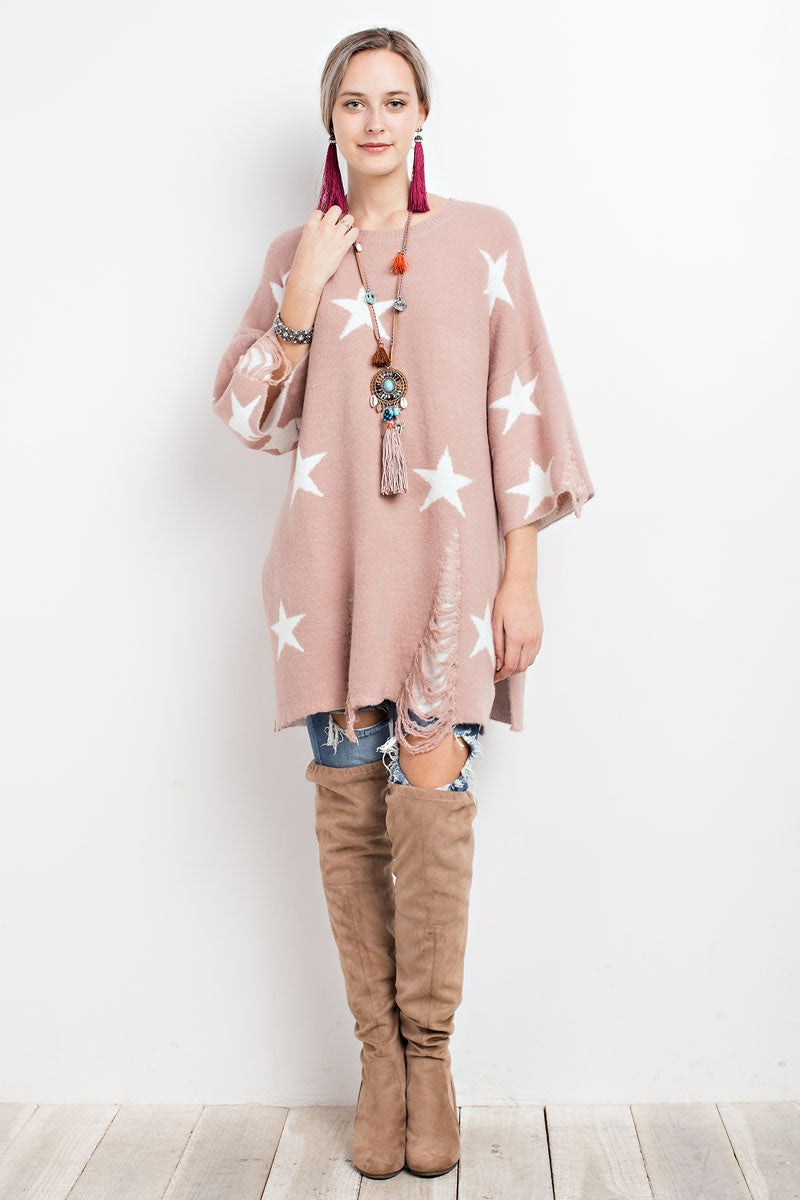 Buy Scoop Neck Distressed Stars Ripped Sweater Tunic Mauve online at Southern Fashion Boutique Bliss