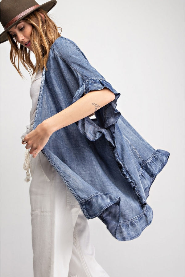 Buy Denim Washed Ruffled Open Cardigan Denim online at Southern Fashion Boutique Bliss