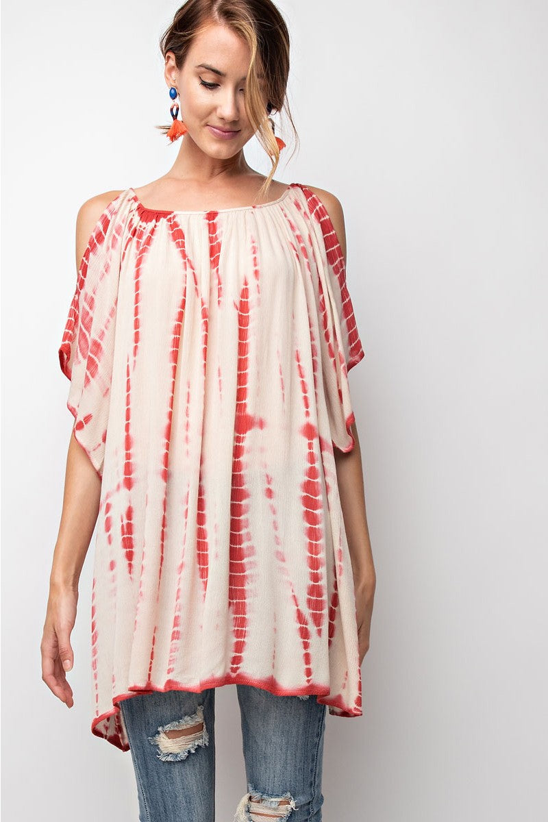 Buy Loose Fit Cold Shoulder Tie Dye Tunic Crimson online at Southern Fashion Boutique Bliss
